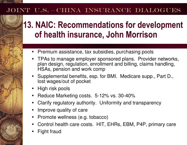 13. NAIC: Recommendations for development of health insurance, John Morrison