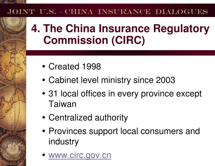 4. The China Insurance Regulatory Commission (CIRC)