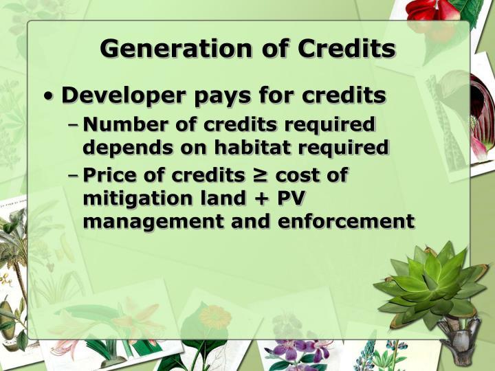 Generation of Credits