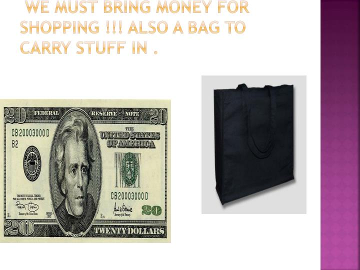 We must bring money for shopping !!! Also a bag to carry stuff in .