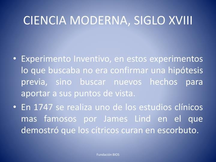 CIENCIA MODERNA, SIGLO XVIII