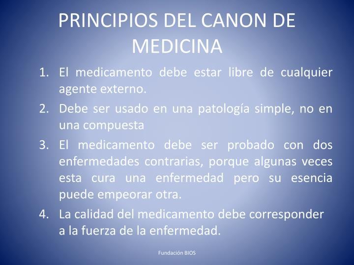 PRINCIPIOS DEL CANON DE MEDICINA