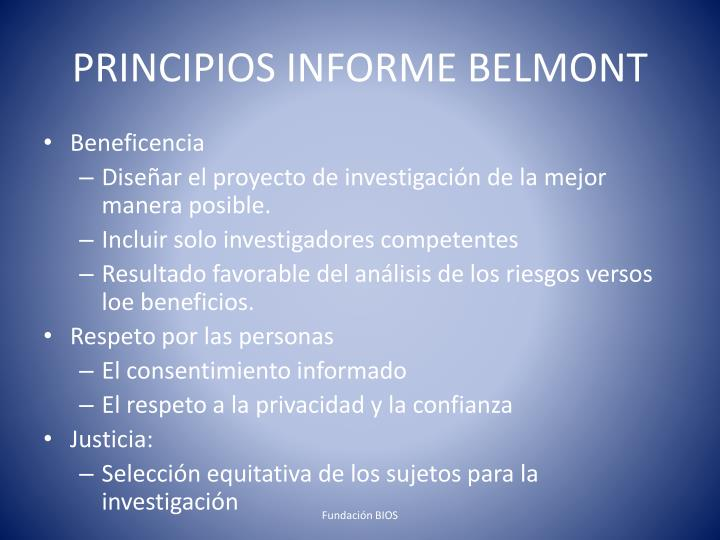 PRINCIPIOS INFORME BELMONT
