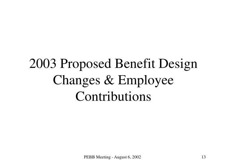 2003 Proposed Benefit Design Changes & Employee Contributions
