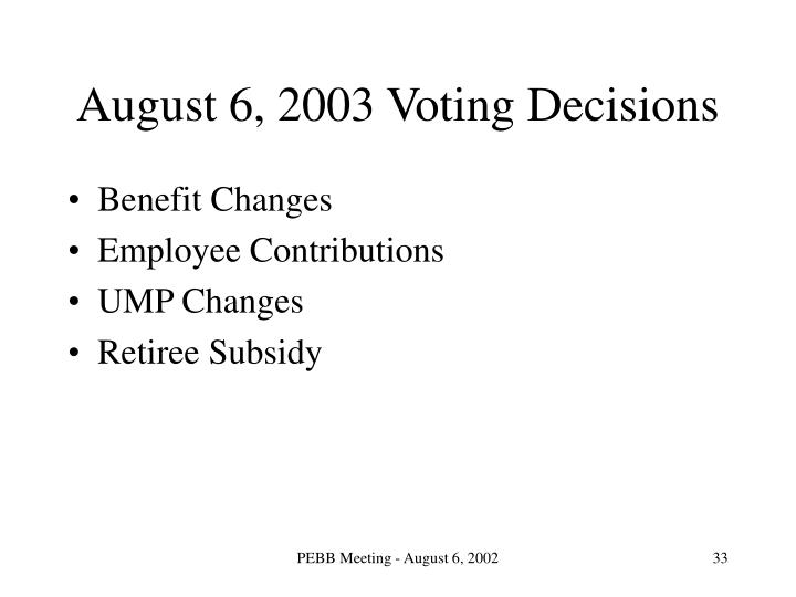 August 6, 2003 Voting Decisions