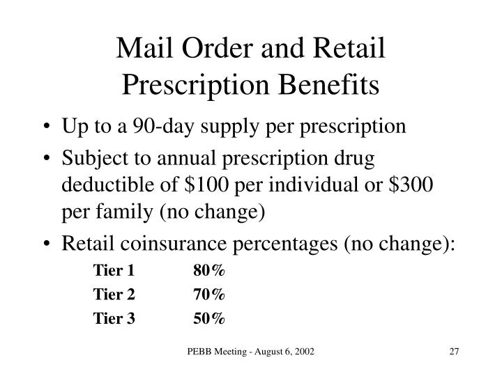 Mail Order and Retail Prescription Benefits