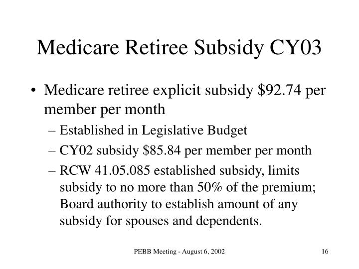 Medicare Retiree Subsidy CY03