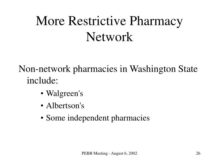 More Restrictive Pharmacy Network