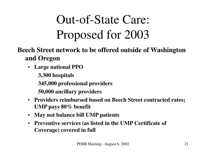 Out-of-State Care:
