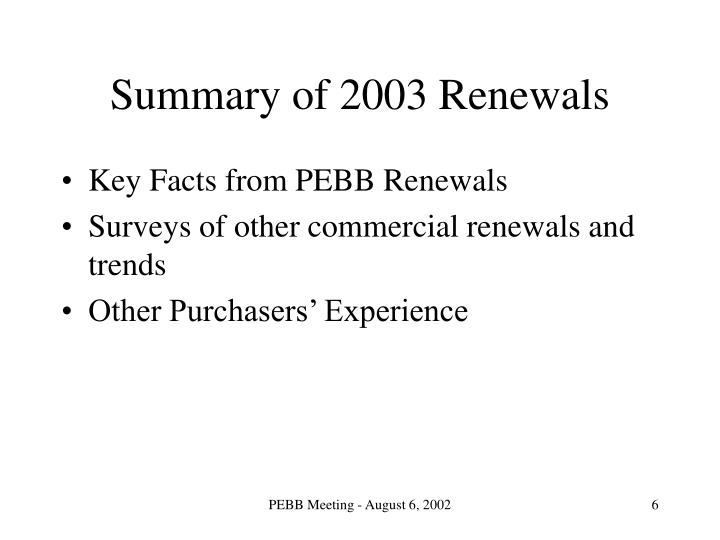 Summary of 2003 Renewals
