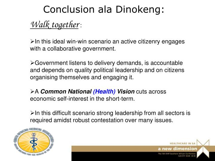 Conclusion ala Dinokeng: