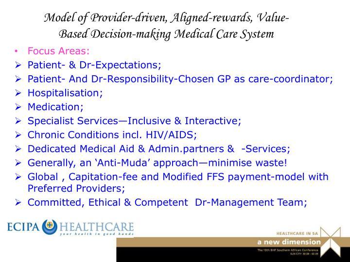 Model of Provider-driven, Aligned-rewards, Value-Based Decision-making Medical Care System