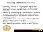 providing healthcare by whom