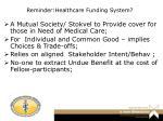 reminder healthcare funding system