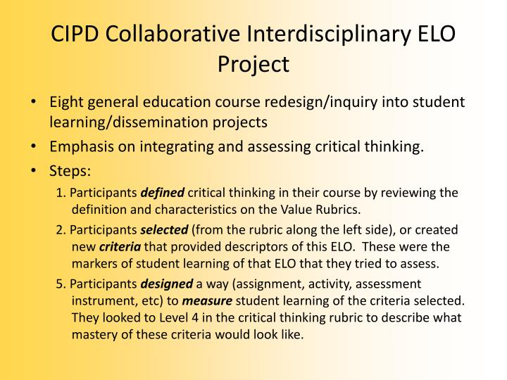 CIPD Collaborative Interdisciplinary ELO Project