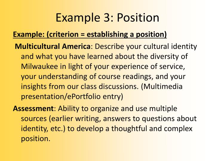 Example 3: Position