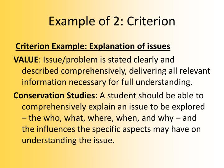 Example of 2: Criterion