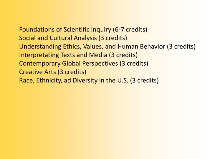 Foundations of Scientific Inquiry (6-7 credits)
