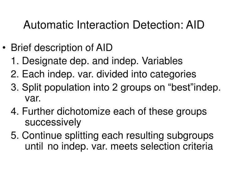 Automatic Interaction Detection: AID