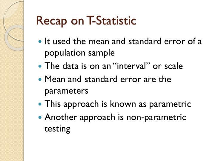 Recap on T-Statistic