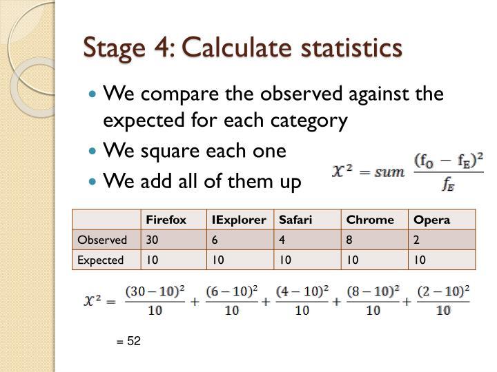 Stage 4: Calculate statistics