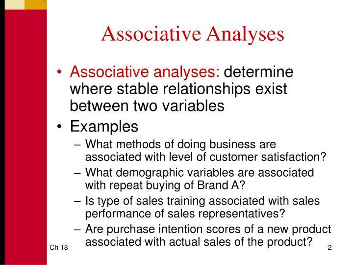 Associative Analyses