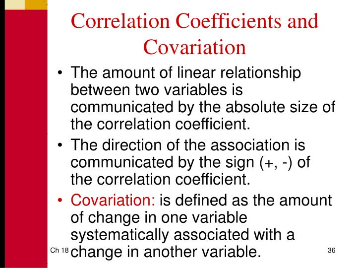 Correlation Coefficients and Covariation