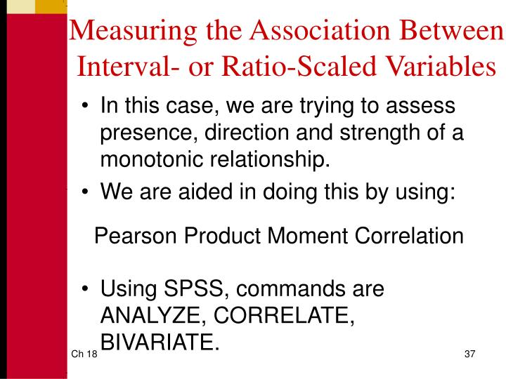 Measuring the Association Between Interval- or Ratio-Scaled Variables