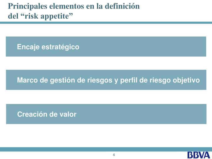 Principales elementos en la definición