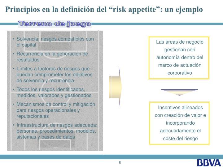 """Principios en la definición del """"risk appetite"""": un ejemplo"""