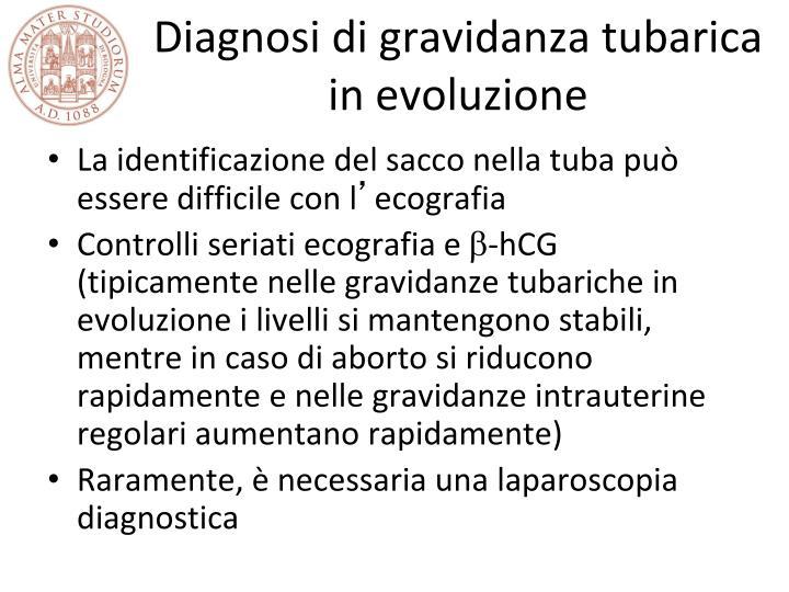 Diagnosi di gravidanza tubarica in evoluzione