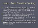 leads avoid headline writing