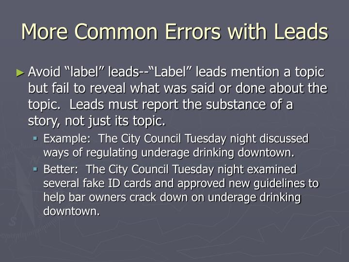 More Common Errors with Leads