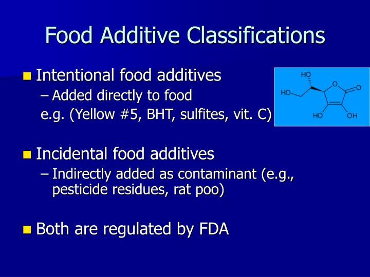 Food Additive Classifications