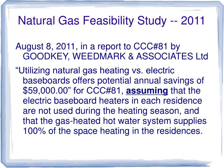 Natural Gas Feasibility Study -- 2011