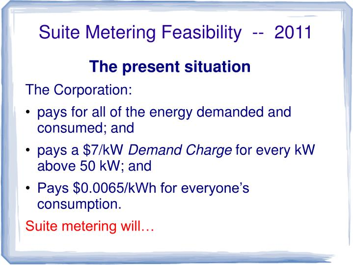 Suite Metering Feasibility  --  2011