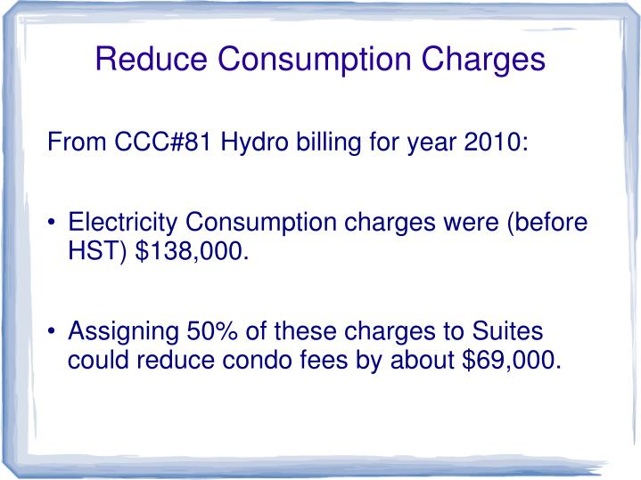 Reduce Consumption Charges