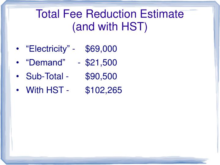 Total Fee Reduction Estimate