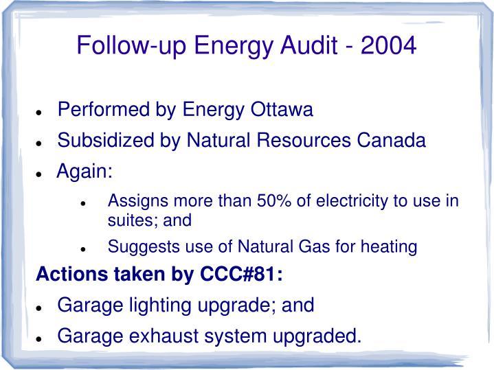 Follow-up Energy Audit - 2004