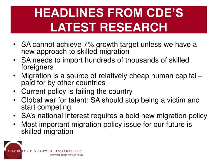 HEADLINES FROM CDE'S LATEST RESEARCH