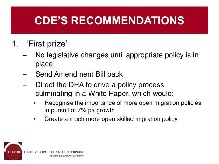 CDE'S RECOMMENDATIONS
