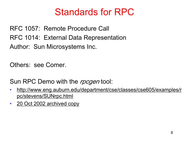Standards for RPC