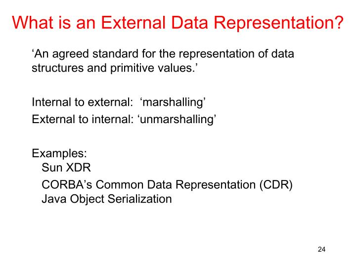 What is an External Data Representation?