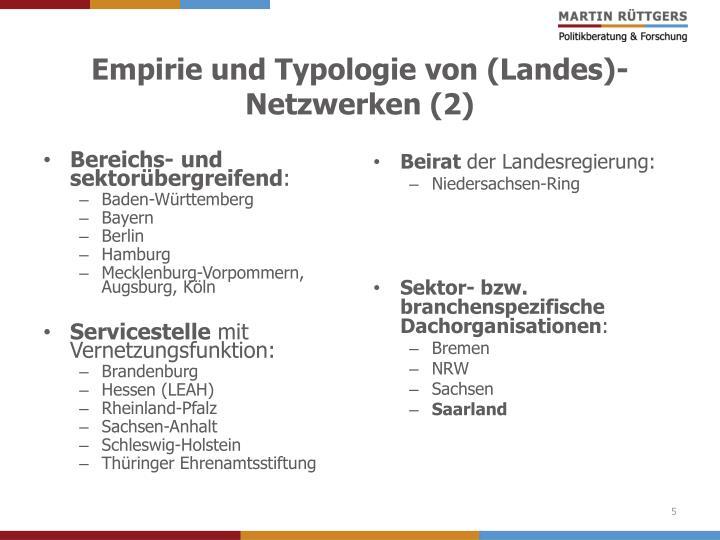 Empirie und Typologie von (Landes)-Netzwerken (2)