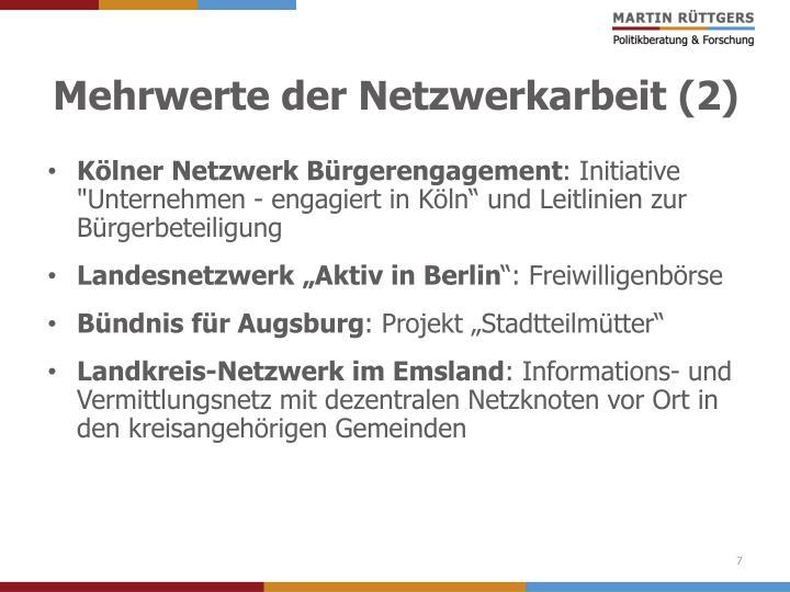 Mehrwerte der Netzwerkarbeit (2)