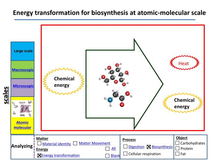 Energy transformation for biosynthesis at atomic-molecular scale