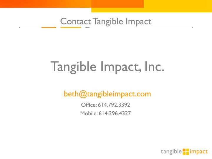 Contact Tangible Impact