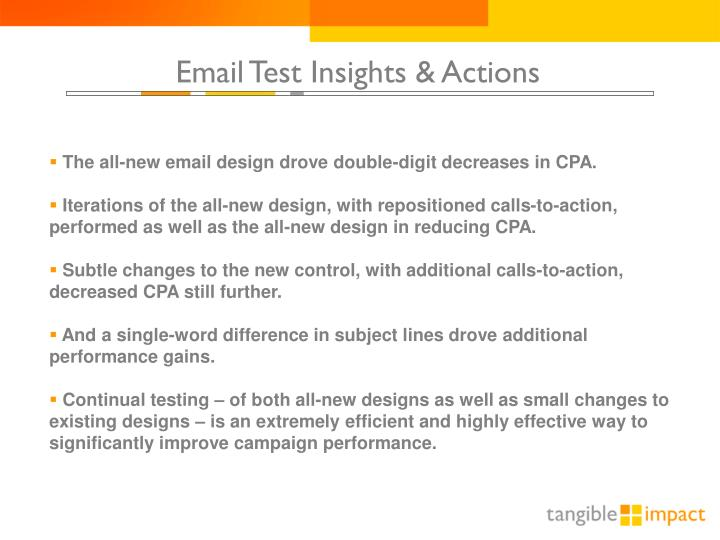 Email Test Insights & Actions
