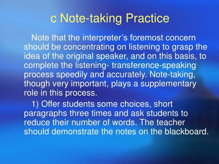 c Note-taking Practice