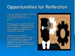 opportunities for reflection